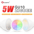 ZIGBEE smart LED hogar gu10 bombilla RGB + AAC cambio de color 5W led inteligente proyector AC100-240V led dual blanco trabajo ligero con echo plus