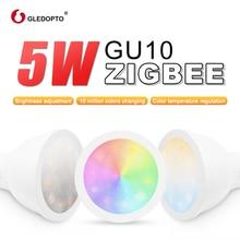ZIGBEE smart home LED gu10 bulb RGB+CCT color change 5W smart led spotlight AC100-240V  led dual white light work with echo plus