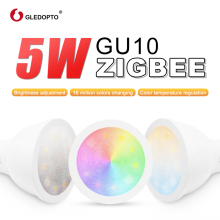 ZIGBEE smart home LED gu10 bulb RGB+CCT color change 5W smart led spotlight AC100-240V  led dual white light work with echo plus