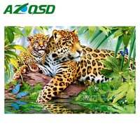AZQSD DIY 3D Diamond Painting Mosaic Painting Home Decor Forest Leopard Family Full Square Diamond Embroidery
