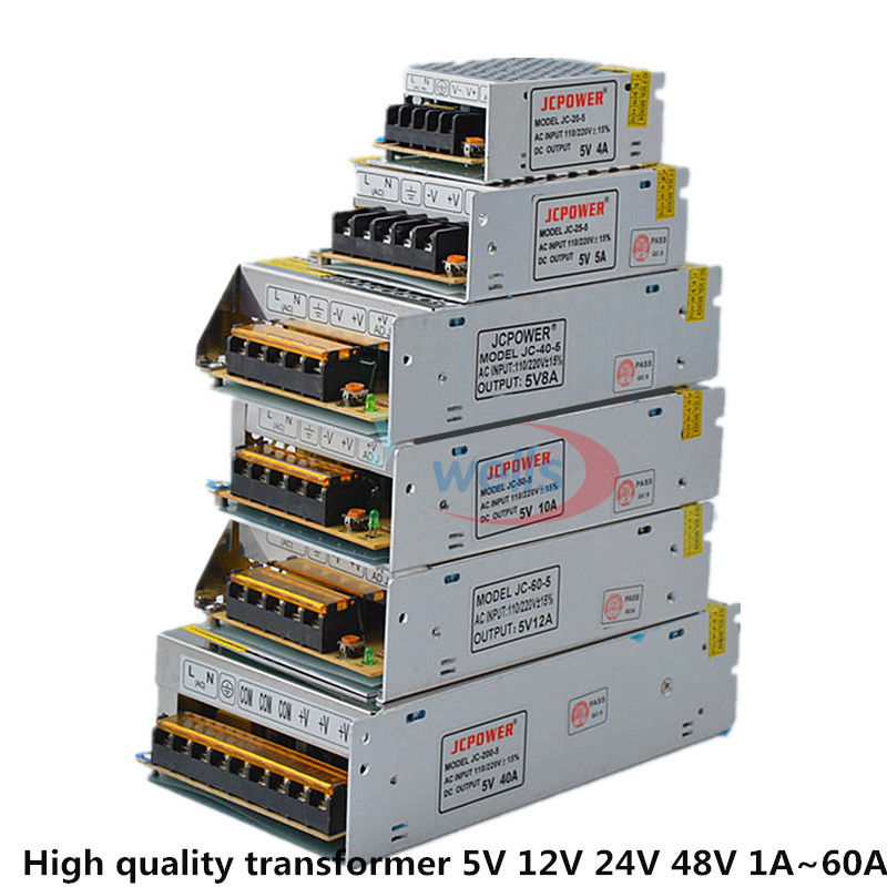 Good quality LED DC5V 12V 24V 48V Strip Power to AdapterAC100-240V 1A 2A 3A 4A 5A 6A 8A 10A 15A 20A 30A 40A 50A 60A Power Supply