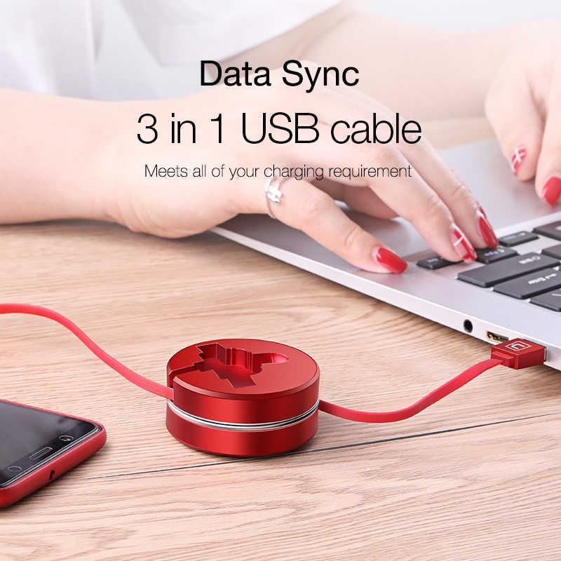 Cafele 3 in 1 USB kablosu tip C mikro usb C kablosu için iPhone şarj cihazı geri çekilebilir şarj kablosu Huawei iPhone için Xiaomi veri Sync