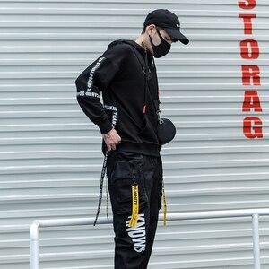 Image 3 - Nuova Moda di Strada di Tendenza Punk Completa Del Nero Del Manicotto Nastri Degli Uomini Con Cappuccio Felpe Con Cappuccio Hip Hop Autunno Allentato Maschio Felpe Streetwear