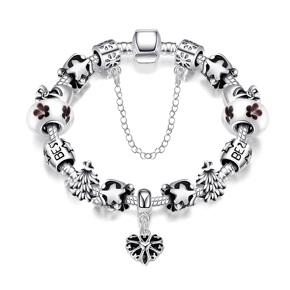 Christmas Gift For Best Friend Tree/Star/Flower/Letter Friendship Bracelet Handmade Alloy Bangle DIY Jewelry Fine Bijoux Pulsera