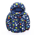 2016 New Cute Dinosaur Cartoon Print Children Down Jacket Boy Winter Hooded Zipper Long Sleeve All-match Boys Clothes 2-9 Age