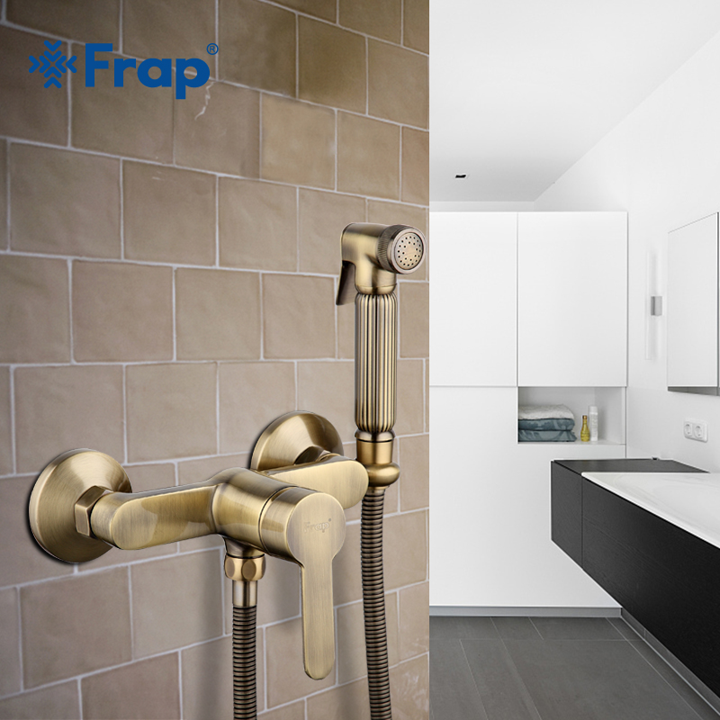 Frap new Antique toilet cleaner set bronze clean hand shower spray bidet sprayer gun toilet faucets shower bidets enema F2041-4