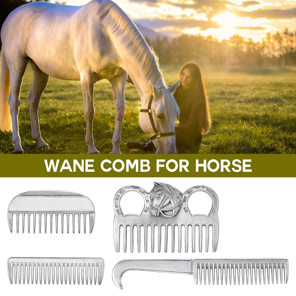 Aluminum Alloy Horse Comb Mane Tail Pulling Comb Metal Horse Grooming Tool 6.5IN / 3.9IN / 3.5IN / 3.2IN Horse equipment