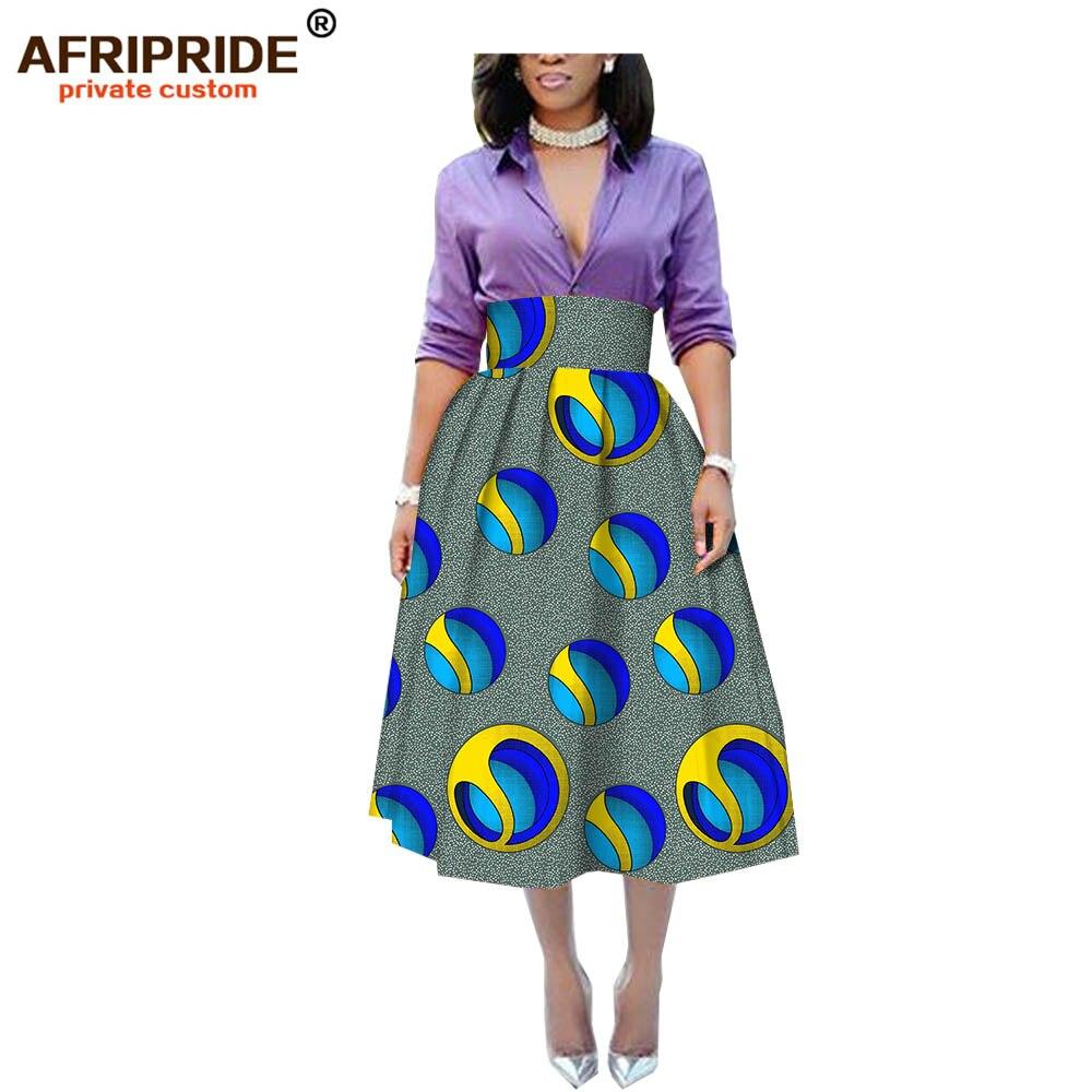 2019 vêtements africains jupe décontractée pour les femmes AFRIPRIDE personnalisé empire mi-mollet longueur femmes jupe pur coton de cire A1927002