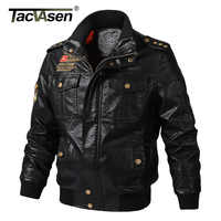 TACVASEN Leather Jacket Men Vintage Motorcycle Biker Jacket Outwear Military Army Pilot Bomber PU Leather Jacket Coat Big Size