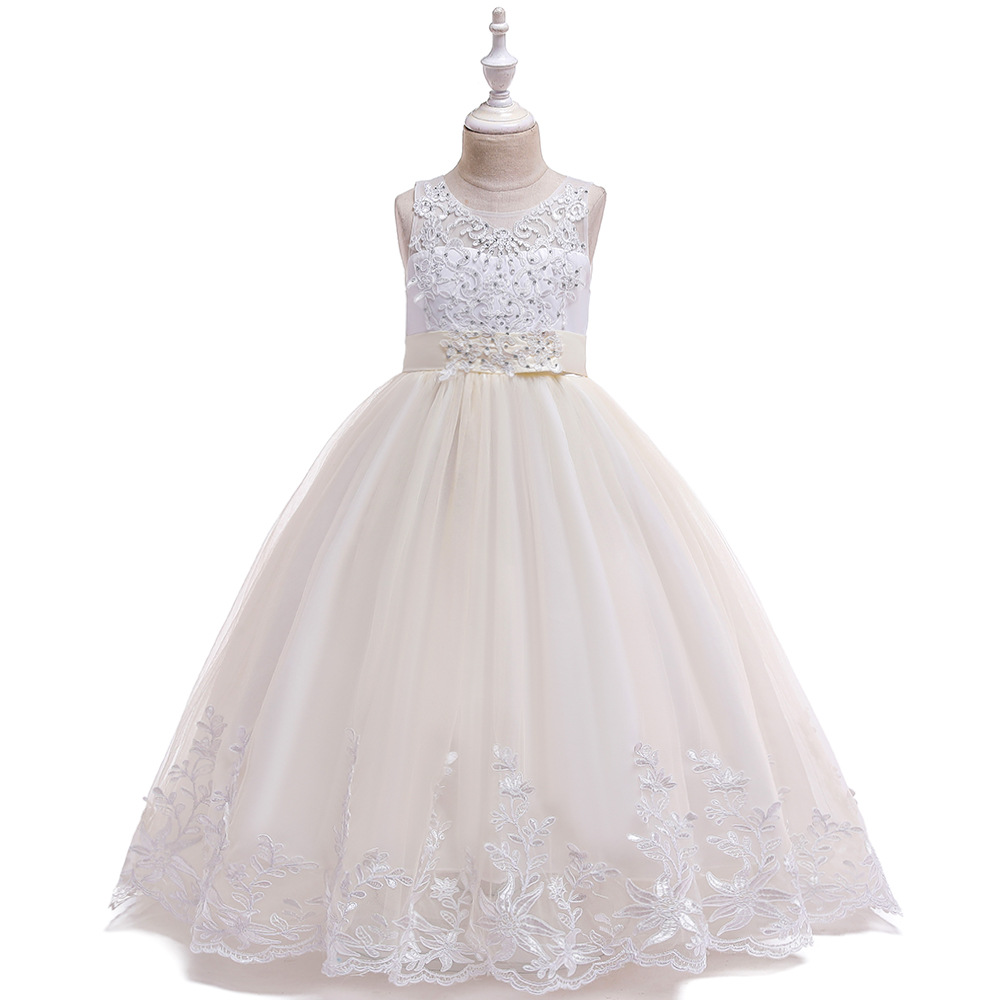 Hot Sale  Ballgown Chamgne Lace Kids Formal Wear Flower Girls Dresses For Wedding Tulle Long Princess Birthday Dresses