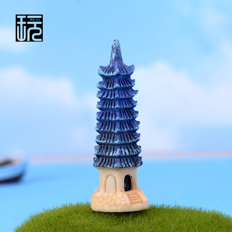 Zakka Resin Chinese Tower Ornament Mini Crafts DIY Fairy Garden Miniatures Home/ Succulents/ Micro Moss Landscape Decoration