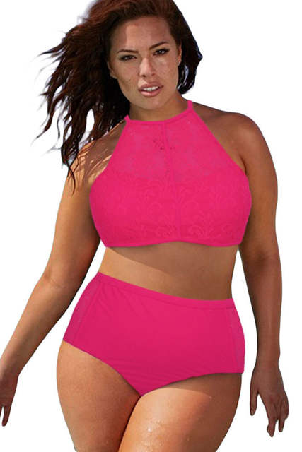 a0b2be82e1 Online Shop high neck padded swimsuit Plus Size High Waist Swimsuit Halter  Padded Push Up Swimwear Bikini for Large Breasted Women 4XL 41991