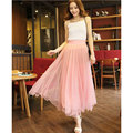 New Summer Skirts Womens Saia De Tule Elegant Ankle-Length Mesh Skirt Dot Flesh Saias Femininas Black And White Tulle Skirt