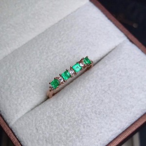 Image 1 - natural green emerald gemstone ring in 925 sterling silver fine jewelry for women ,Real emerald Ring with box