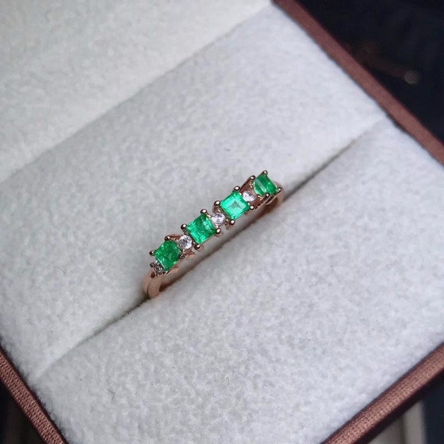 natural green emerald gemstone ring in 925 sterling silver fine jewelry for wome