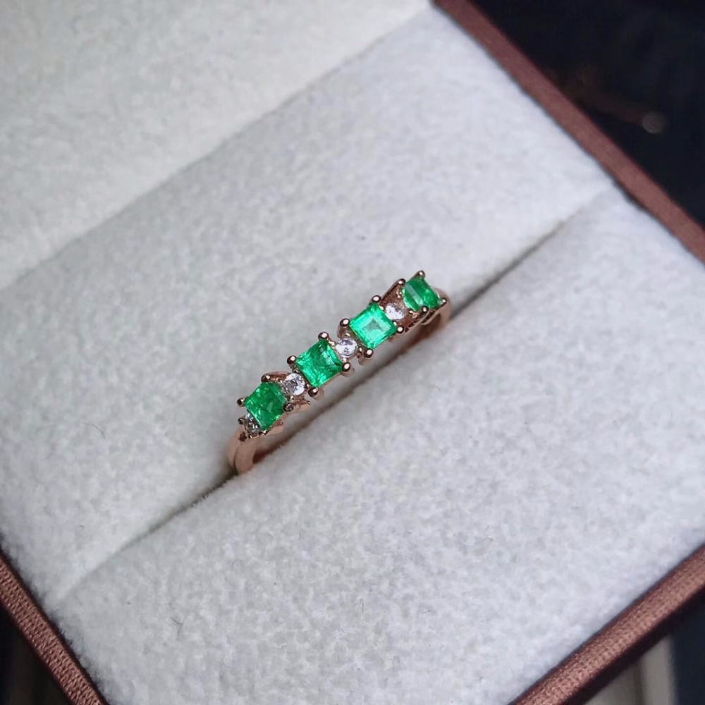natural green emerald gemstone ring in 925 sterling silver fine jewelry for women ,Real emerald Ring with box