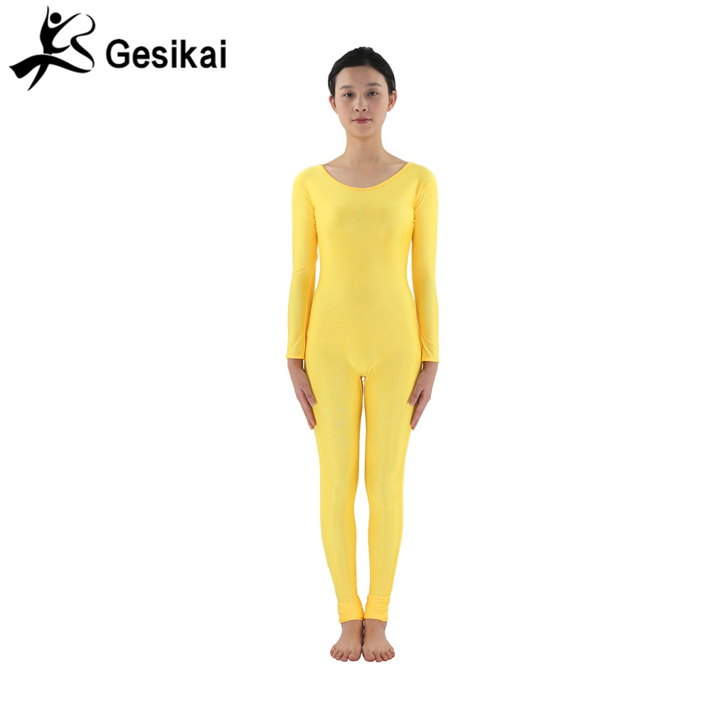 24 Hrs Shipped Out Womens Yellow Costumes Long Sleeves Yoga Unitards Gymnastics Dancewears Fitness Suits
