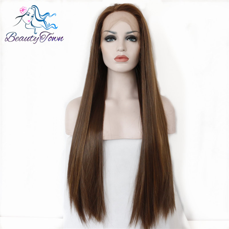 Beautytown Brown Highlight Color Heat Resistant Hair Glueless Natural Hairline Perruque Synthetic Lace Front wig For