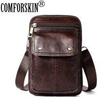 COMFORSKIN Premium 100% Cowhide Leather Large Capacity Men Waist Pack Brand Design Mens Bag 2018 Hot Cross-body