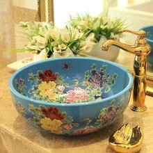 Artístico hecho a mano China Europa Vintage Lavabo de cerámica de baño arte de la lucha de la parte superior de lavar platos peonía pintura
