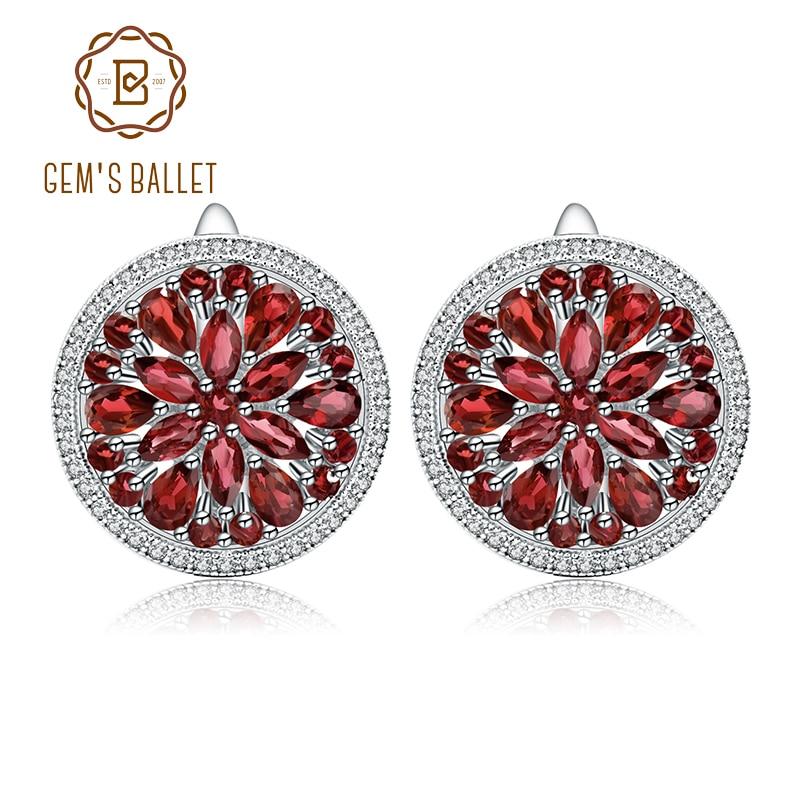 GEM'S balet 7.76Ct naturalny czerwony granat kolczyki z kamieniami szlachetnymi 925 kolczyki sztyfty ze srebra wysokiej próby dla kobiet mała biżuteria ślubna w Kolczyki od Biżuteria i akcesoria na  Grupa 1
