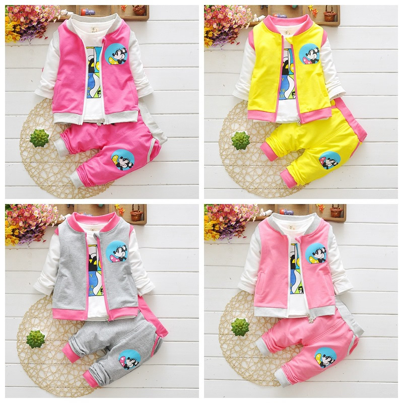 2016 New Autumn Baby Girls Suits Infant/Newborn Clothes Sets Kids Vest+T Shirt+Pants 3 Pcs Sets Children Suits free shipping