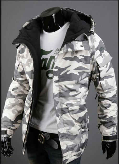 Cool College Jacket Men 2017 Winter New Men's Camouflage Jacket Hooded Warmer Jacket Men's Fashion Student Jacket