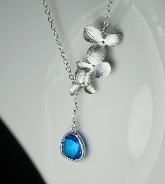 Kinitial 1pcs gold silver orchid necklace pendants blue stone and kinitial 1pcs gold silver orchid necklace pendants blue stone and orchid flower necklaces wedding jewelry orchid aloadofball Choice Image