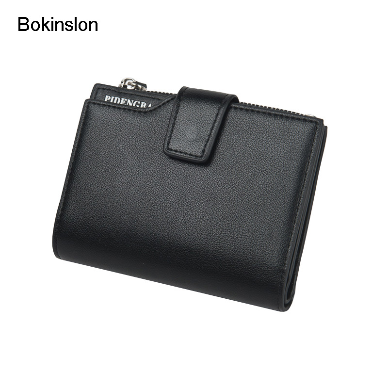 Bokinslon Man Wallet Brand Fashion Short Paragraph Men Wallet Casual Solid Color Luxury Male Wallet High Quality hats