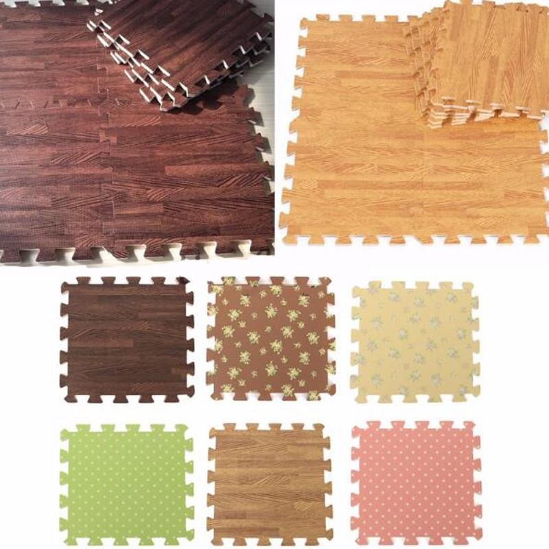 9PCS Wood Interlock EVA Foam Floor Puzzle Pad Work Gym Mat Kid Safety Play Rug