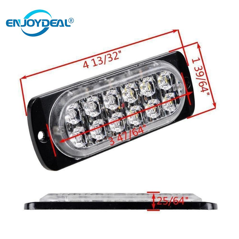 NEW 36W 12V-24V Amber 12LED Car Truck Strobe Flash Emergency Warning Bar Light Car LED Light Bar Blue Red Lamp Warning Light