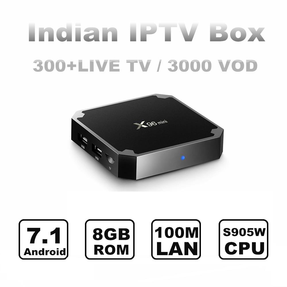 Boîte indienne IPTV 300 + Zee TV, couleurs, Soni, Sun TV, Maa TV, Zee Marathi chaînes sans frais mensuels indien Android TV Box