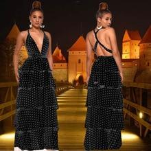 цена Party Night Polka Dot Dresses Summer Spaghetti Strap Dress Women Backless V-neck Black White Multi Ruffles Long Maxi Clothing