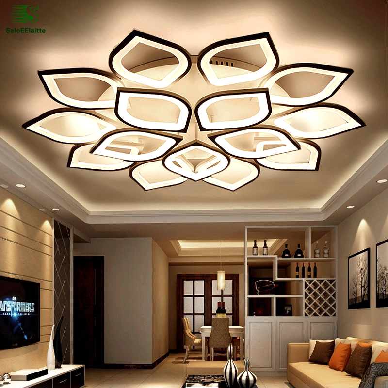 Modern Simple Flowers Acrylic Led Ceiling Lights Lamparas White Metal Bedroom Led Ceilin ...