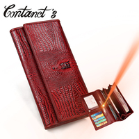 Women Casual Clutch Genuine Alligator Leather Wallets Fashion Female Long Day Clutches Vintage Hasp Coin Purse