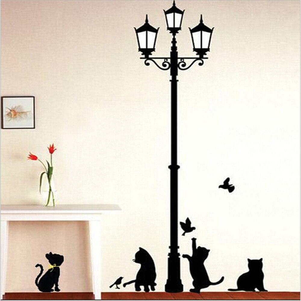 comprar negro gato travieso y aves extrable pegatinas de vinilo de pared para nios tatuajes wallpaper decoracin carteles