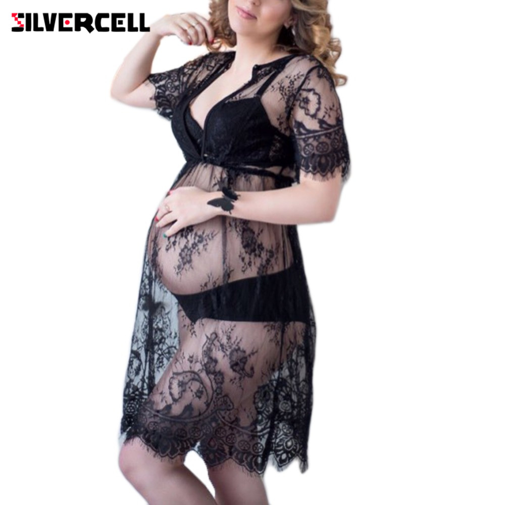 SILVERCELL Sexy Lace Dress for Women Casual Short Sleeve O Neck See Through Beach Wear Long Dresses Plus Size