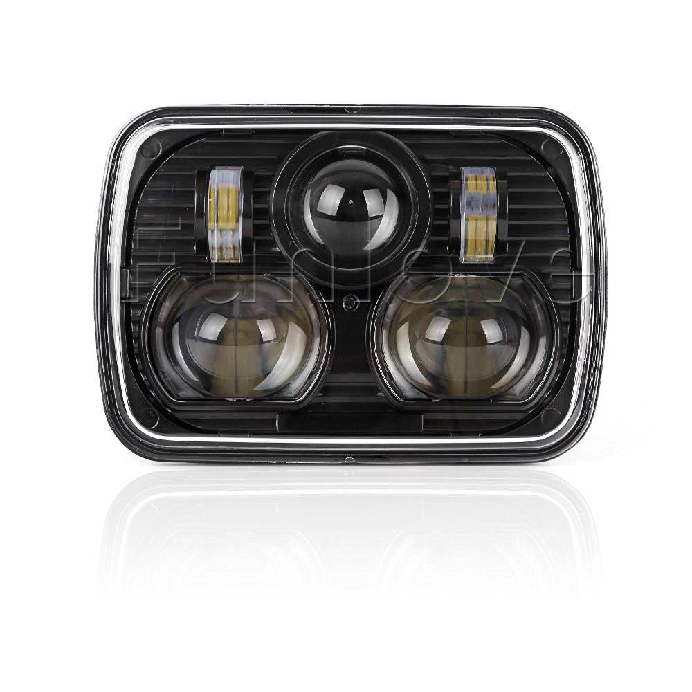 Black 5 X 7 LED Headlights Replacement for Jeep Cherokee XJ Trucks (2)