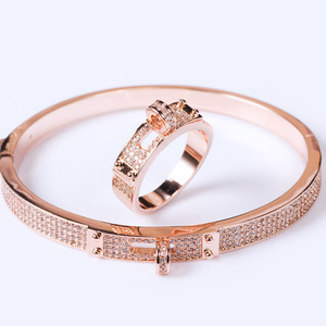 Image 2 - Blucome Womens Zircon Bangle jewelry For Party Perfect Gold color Mens Bangle Pulseira Mujer Women Love Bangle & Braceletes