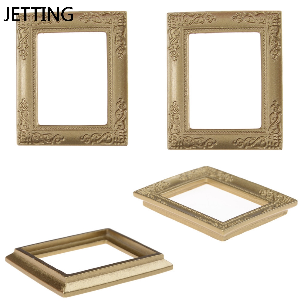 JETTING 6.8*5.7 cm Gold photo Frames 1:12 Dollhouse Miniature Mirror ...