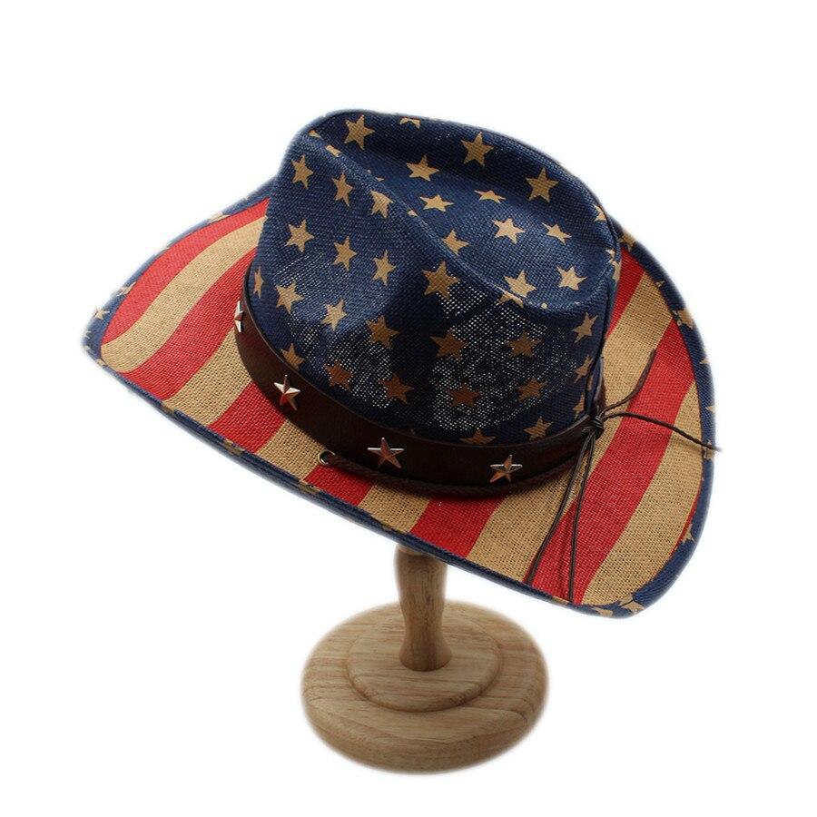 Musim panas topi koboi pria wanita pria berongga barat cowgirl jazz  sombrero pantai matahari topi berkuda cap ayah amerika flag di Topi Koboi  dari Aksesoris ... 3f38910c6f