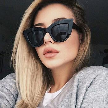 COOYOUNG nowe okulary przeciwsłoneczne Cat Eye kobiety marka projektant Vintage lusterko dla kobiet obiektyw okulary UV400 tanie i dobre opinie WOMEN Dla dorosłych Z tworzywa sztucznego Lustro Gradient Antyrefleksyjną 52mm Z poliuretanu CN1208 63mm Fashion Cat Eye Sunglasses