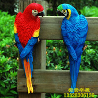 Courtyard Garden Decor Rings Pendant Sculpture Garden Bird Macaw Resin Handicraft Ornaments Simulation