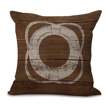 Brown Lifebuoy Cushion Cover