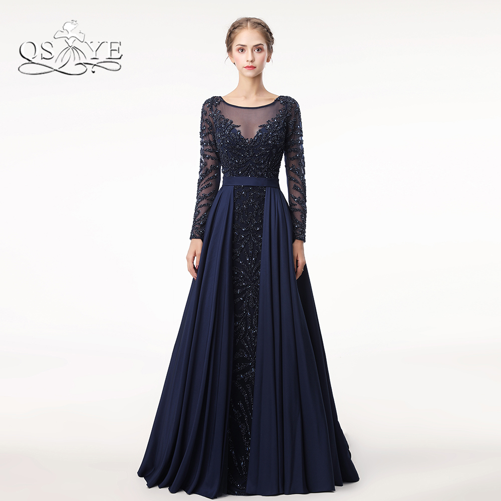 Dress Evening Gowns: QSYYE 2018 Dark Navy Luxury Beading Formal Evening Dresses