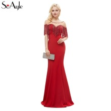 SoAyle Red Evening Dress 2018 Beaded Mermaid Prom Dresses