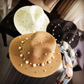 Fashion flat brim straw hat pearl beading fedoras women's sun-shading sunscreen jazz Panama hat outdoor beach hat
