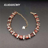 KJJEAXCMY Color Jewelry Manufacturers Wholesale Natural Garnet Female Bracelet 925 Silver Inlay