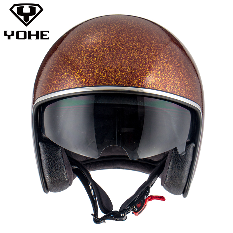 YOHE Vintage Helmet font b Motorcycle b font Men Women Unisex Black Half Helmet Open Face