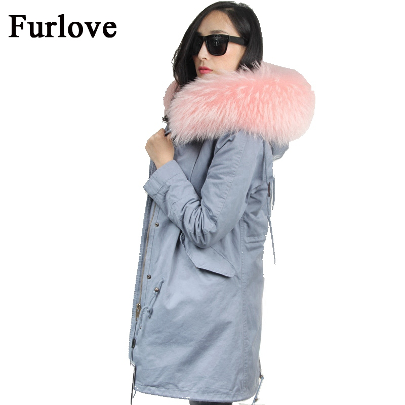 New Winter Jacket Women Pink Gray Blue Long Parka Jackets Warm Coats Thick Real Raccoon Fur Collar Hooded Fur Coat Female Parkas slim winter jackets women belt long down coat 2016 new fashion women s winter coat fur collar coats female thick warm parka y269
